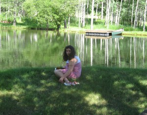 Thea beside the pond in Woody Creek