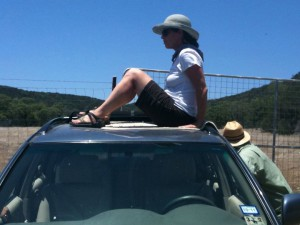 Heather on her car